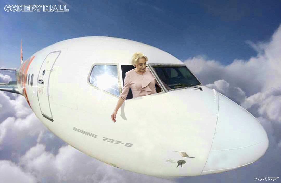 Dăncilă s-a făcut de râs în avion! A cerut să i se deschidă geamul pentru că aerul condiţionat îi face rău la reumatism!