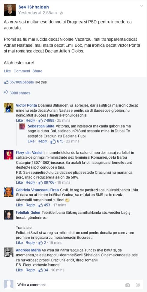Am comentat pe pagina de Facebook a premierului Sevil Shhaideh. Andreea Marin iar s-a legat de mine