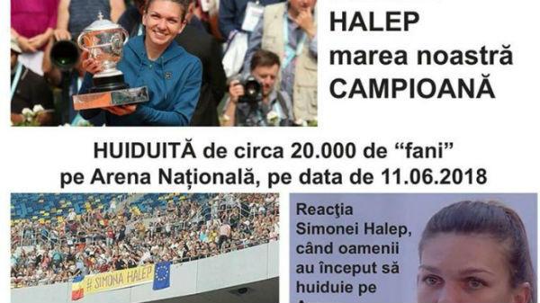 Câteva organizaţii PSD afirmă pe Facebook că Halep a fost huiduită pe Arena Naţională