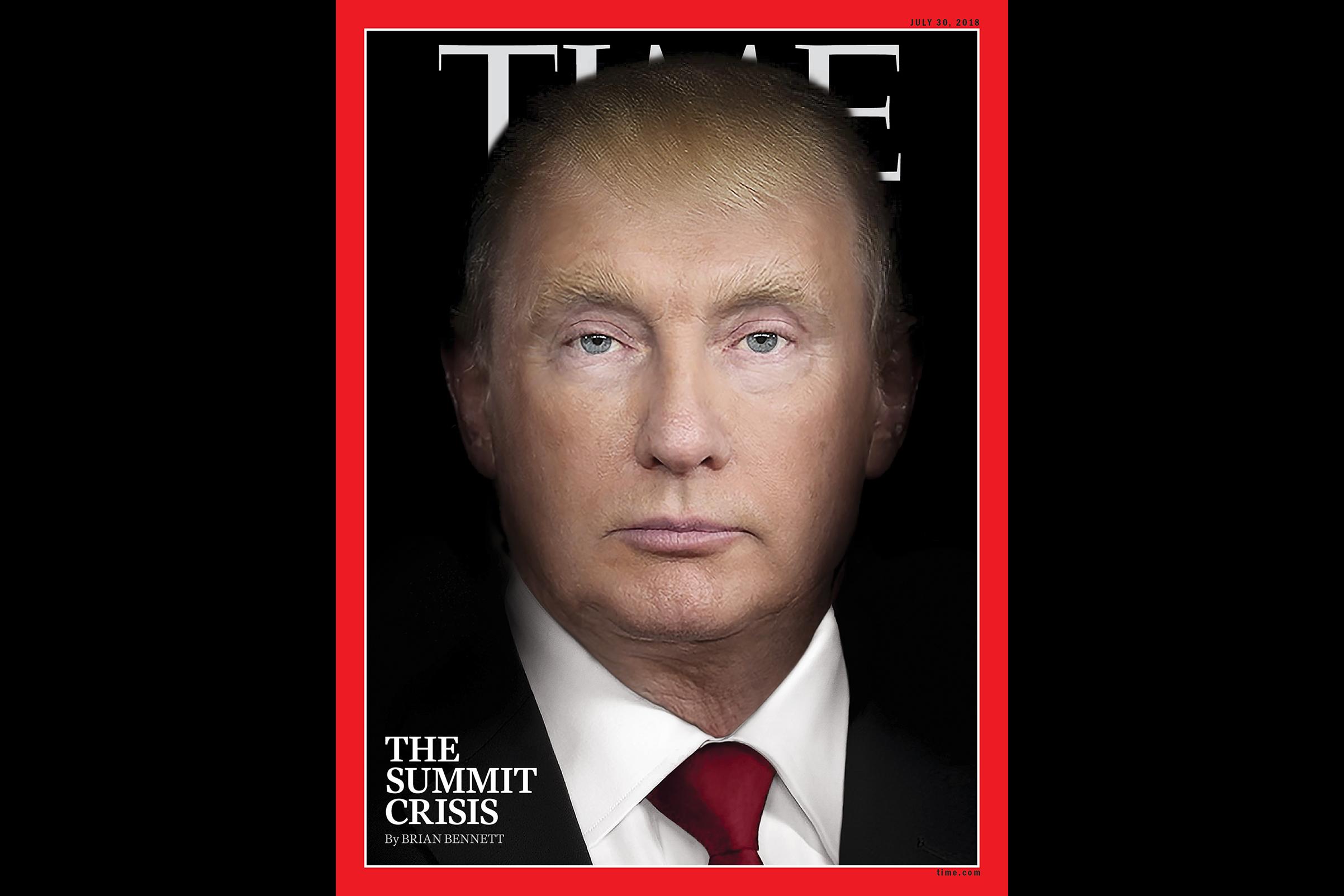 """Pe coperta ultimului număr al revistei """"Time"""", Putin şi Trump apar ca aceeaşi persoană"""