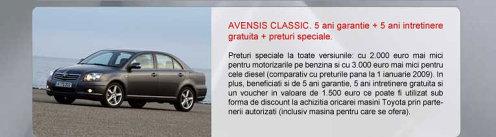 Toyota Avensis Classic - oferta aprilie 2009