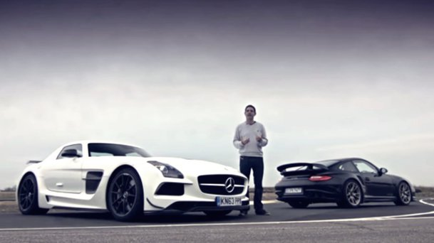 Bătălia greilor: Porsche 911 GT2 RS vs. Mercedes-Benz SLS AMG Black. VIDEO
