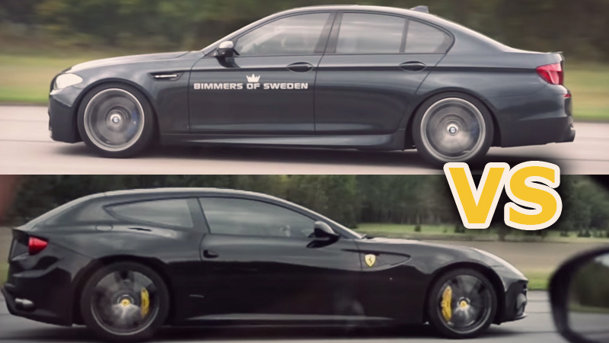 Ferrari FF vs. BMW M5: care pe care? VIDEO