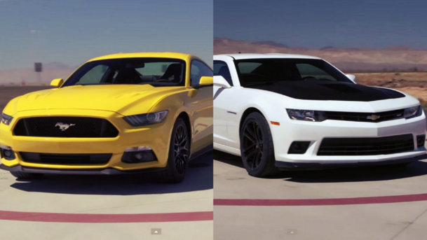 Ford Mustang GT 2015 vs. Chevrolet Camaro SS 2015. Cine câştigă? VIDEO