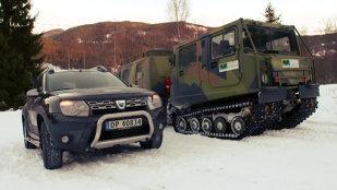 Dacia Duster vs snowcat militar. Cine urcă mai sus pe zăpadă?