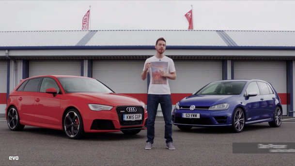 EVO: Audi RS3 vs Volkswagen Golf R. Care e mai bun? VIDEO