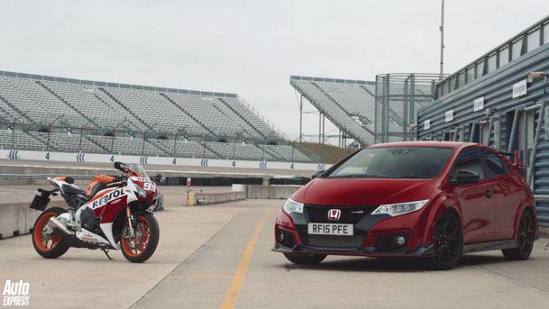 Honda Civic Type-R, aruncată în luptă împotriva celei mai rapide motociclete Honda [VIDEO]