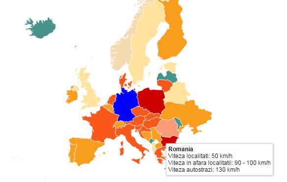 Harta Europei din punct de vedere al vitezelor pe şosele. Află care e ţara unde nu există limită de viteză