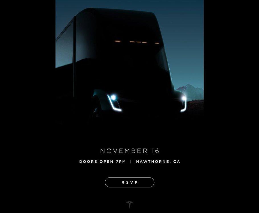 O nouă imagine teaser cu viitorul camion TESLA