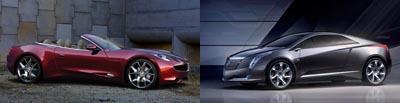 Fisker Karma Sunset Concept vs. Cadillac Converj Concept