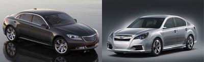 Chrysler 200C EV Concept vs. Subaru Legacy Concept
