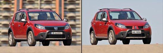 Poza prelucrata vs. poza originala cu Renault Sandero Stepway