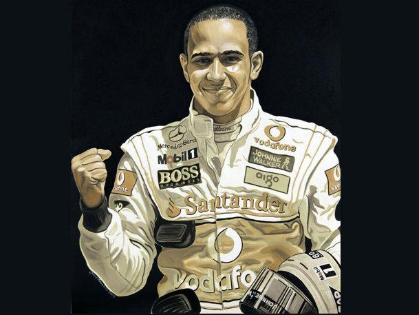 Lewis Hamilton pictură în ulei ars