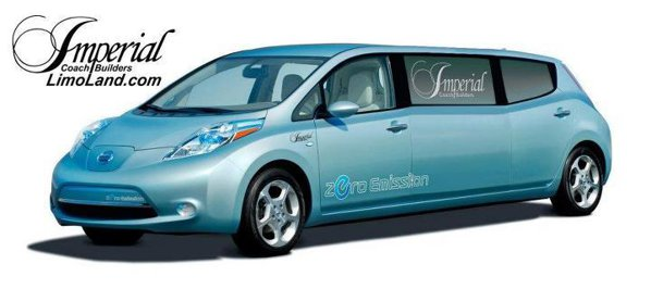 Nissan Leaf transformat in stretch limo
