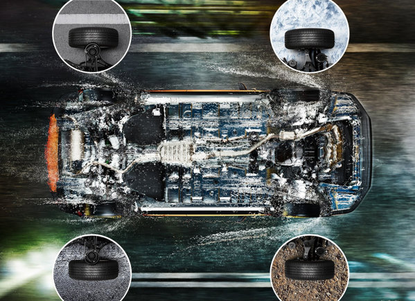 Sistemul Symmetrical All-Wheel-Drive face echipa cu Subaru Dynamic Chassis Control Concept