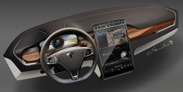 Tesla Model X preia bordul de la Tesla Sedam, cu imensul Tesla Touchscreen