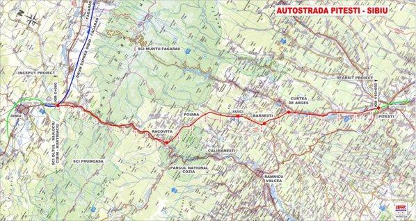 Plan autostrada Piteşti - Sibiu (CNADNR)