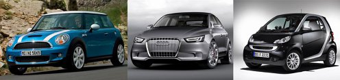 Bavarezii au Mini, Audi va oferi A1 (derivat din VW Polo), iar Mercedes inca se bazeaza pe smart.