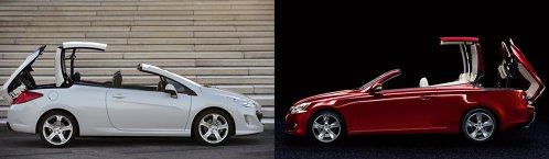 Peugeot 308 CC vs. Lexus IS C: leul e mai tare