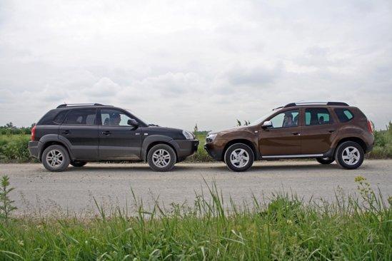 Dacia Duster si Hyundai Tucson sunt foarte asemanatoare dimensional