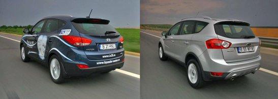 Hyundai ix35 este ceva mai incapator si modulabil decat Kuga, dar diferentele sunt mici