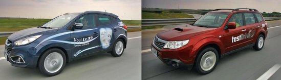 Hyundai ix35 are o stabilitate ceva mai buna, dar motorul lui Forester e mai flexibil