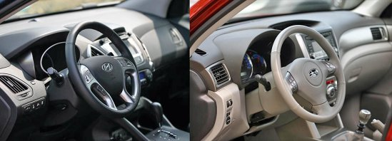 Nivelul calitatii este ceva mai bun in Hyundai ix35, dar Forester are o ergonomie mai evoluata