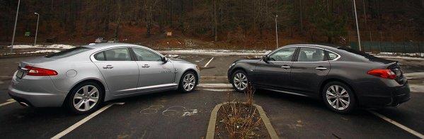 Diferenta clara: Jaguar XF e pentru cei sportivi, Infiniti M pentru cei care vor confort