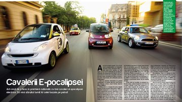 Trei maşini electrice în Bucureşti
