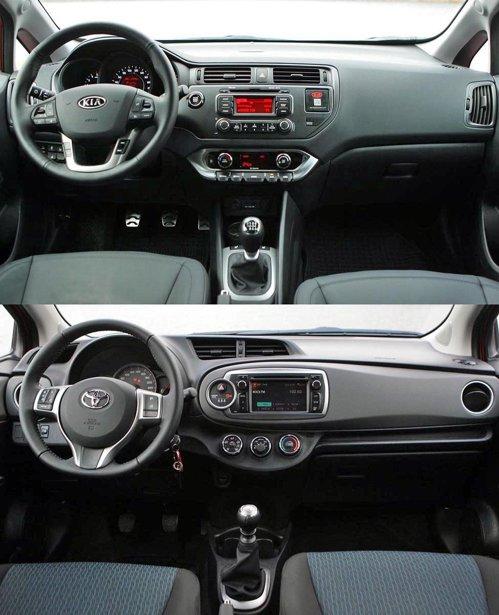 KIA Rio ofera un stil mai convenional pentru interior. Toyota Yaris e mai high-tech