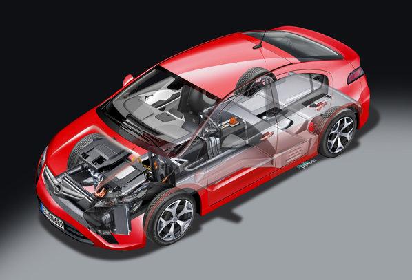 Opel Ampera se situeaza intre masinile hibrid normale si masinile strict electrice