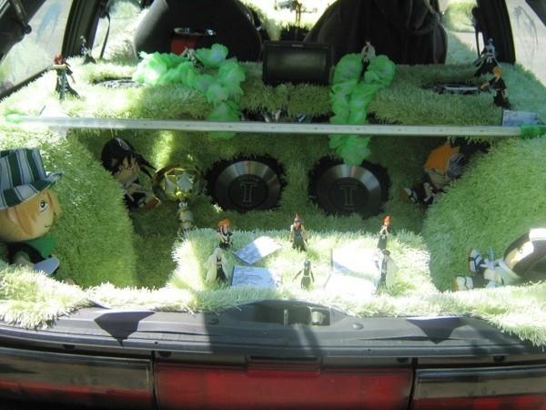 Tapiterie care seamana cu iarba, figurine si papusi, dar si o instalatie audio performanta