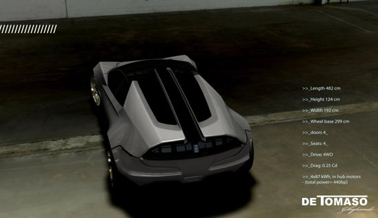 De Tomaso Ghepardo poate fi propulsat de 4 motoare electrice, cu sistem fuel cell