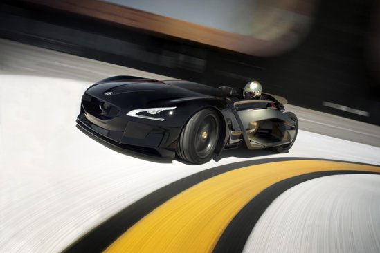 Peugeot EX1 are doua motoare electrice si o putere cumulata de 340 CP pentru o masa de 750 kg
