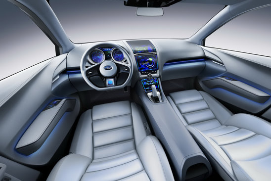 Interior high-tech pentru Subaru Impreza Concept, garnisit de display-uri