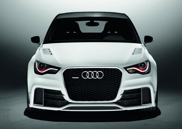Audi A1 Clubsport quattro are o parte frontala foarte agresiva, cu fante uriase