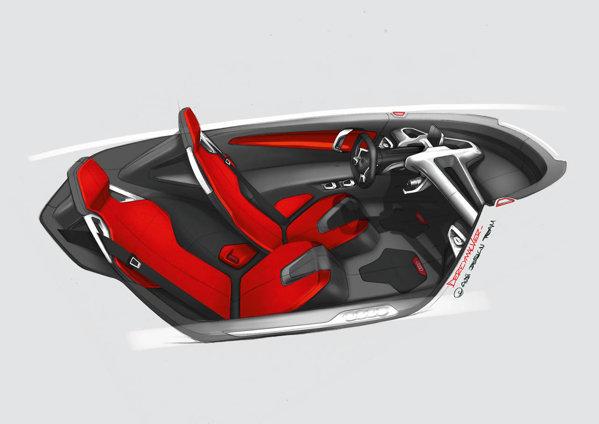 Conceptul Audi are doua locuri, in configuratie 1+1 si devansate unul fata de celalalt