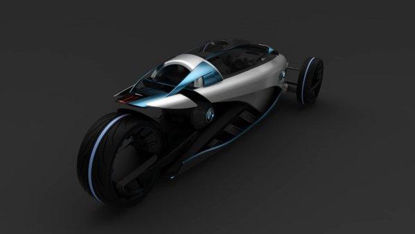 BMW i1 are cate un motor electric in cele trei roti, iar cele doua din fata se inclina in viraje