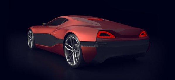 Spatele lui Rimac Concept One este simplist, dar ideea nervurii mediane este originala