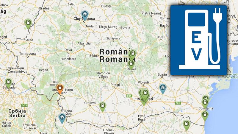 HARTA punctelor de încărcare pentru maşini electrice din România