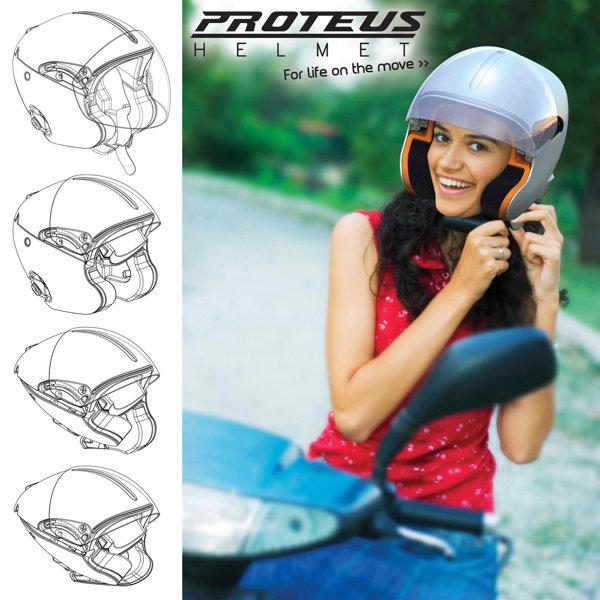 Casca moto pliabila Proteus Helmet - inventie nominalizata la James Dyson Award