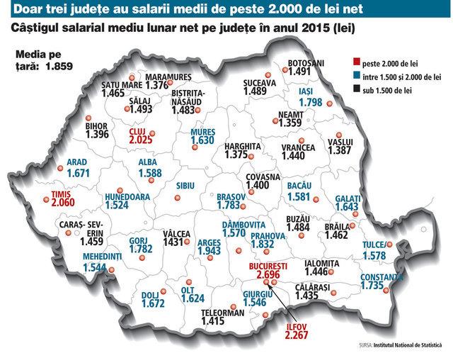 Harta Salariilor Medii Din Romania Unde Se Află Cei Mai Bine