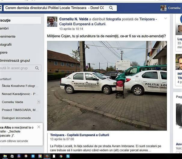 Timişoreanul care a distribuit poze cu maşini ale Poliţiei Locale parcate greşit, AMENDAT. Cât trebuie să achite bărbatul