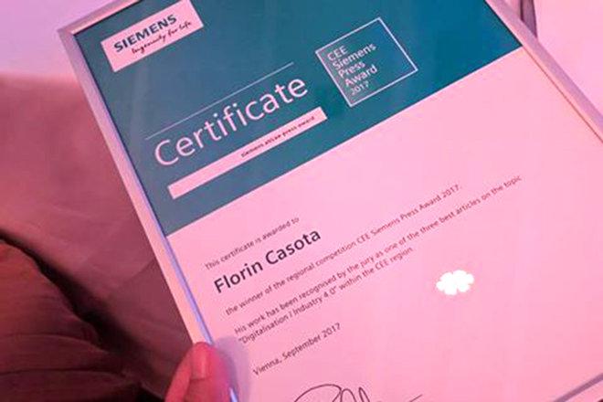 Florin Caşotă, jurnalist Business Magazin, este marele laureat al competiţiei Siemens CEE Press Award 2017