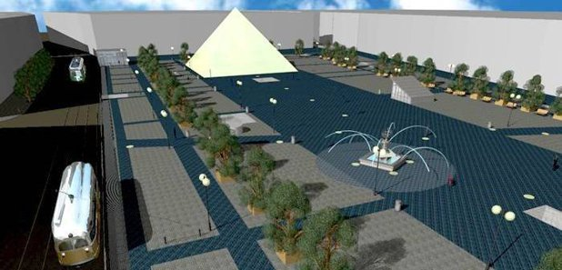 Piramida de sticlă, fântâni arteziene şi parcare subterană în centrul unui oraş din vestul ţării