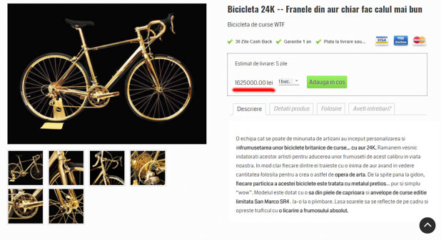 Esti în pană de idei? Ia-i bicicleta asta sau 28 de Dacia Duster. Preţul e acelaşi