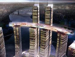 """Ambiţie fără precedent: Un nou """"oraş"""" se ridică în China, de opt zgârienori. Surpriza? Patru vor fi orizontali, legaţi legaţi de acoperiş, la 300 de metri înălţime"""