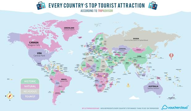 Harta lumii cu cele mai populare atracţii turistice. Pentru ce este recunoscută România - FOTO
