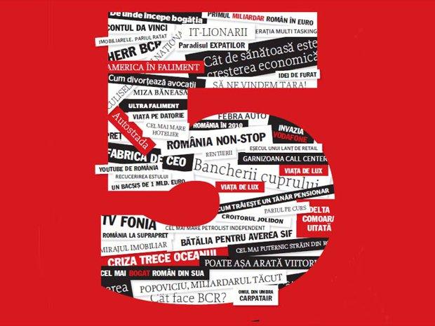 Business Magazin împlineşte 5 ani şi grupează într-un cover story cele mai relevante poveşti de afaceri din istoria revistei până atunci