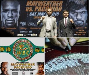 """VIDEO Floyd Mayweather - Manny Pacquiao, meciul secolului şi o centură pe măsură! FOTO 1 milion $ valorează """"trofeul"""" înmânat câştigătorului. """"Money"""" şi Pac-Man vor împărţi minim 300 de milioane $"""